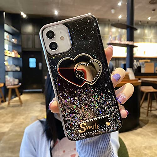 Miagon Glitter Cover for Samsung Galaxy Note 10 Lite,Soft Slim Silicone Protective Cute Clear Sparkly Bling Star Bumper Case for Girls Women,Heart Black