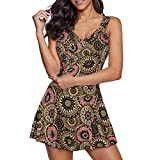 Zando One Piece Bathing Suit for Women Push Up Swimsuits Womens Swimsuits Tummy Control Tankini Swimsuits Modest Swim Dress Slimming Swimdress with Shorts 1 Piece Swimsuit Vintage Coffee Flower 12-14
