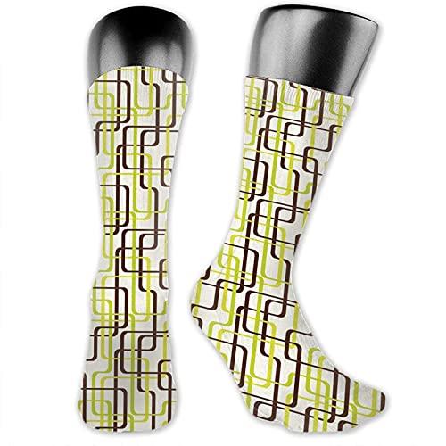XCNGG Socken Compression Medium Calf Crew Socke, Sixties Fashion Inspired Intertwined Lines Stilvolle Formen