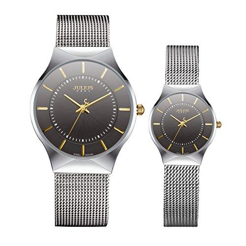 Julius ja-577C Ultra Fino Plateado y Negro Pareja Reloj Malla de Acero Inoxidable Reloj de Pulsera analógico de Cuarzo