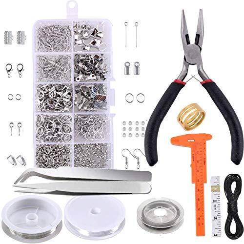 Kit de suministros para fabricación de joyas – Herramienta de reparación de joyas con accesorios alicates de joyería y cables para abalorios para adultos y principiantes