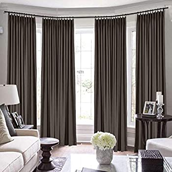 TWOPAGES Pinch Pleated Loft Curtains 192 Inch Long for Loft Natural Linen Curtains for Living Room/Bedroom Window Drape 7084-59 Brown 1 Panel 50Wx192L