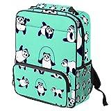 Mochila escolar de bambú con diseño de cabeza de panda bordada de bosque y flores, mochila para ordenador portátil, para niños, niñas y mujeres Color07 14.3x11.4x4.7 in