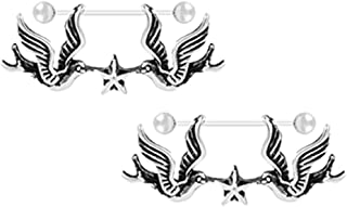 MagiDeal 2pcs Vintage Stainless Steel Pigeon Bird Barbell Nipple Ring Shield Barbell