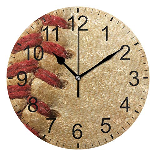 Promini Retro Baseball Wooden Wall Clock 15inch Silent Battery Operated Non Ticking Wall Clock Vintage Wall Decor for Kitchen, Living Room, Bedroom, School, or Office