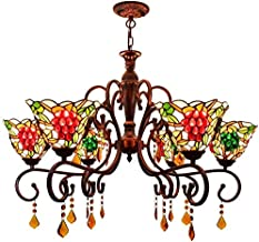 Stained Glass lamp, Red Bronze Crystal Chandelier 32 Inch Chandelier Red Bronze Coffee Stand Crystal Grapes Colorful Glass...