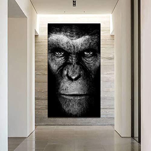 baodanla Rahmenlose ölgemälde Moderne Tierwandkunst Schwarz Gorilla Leinwand Ng Poster Und Drucke Wandbilder Für Wohnzimmer Korridor Quadro 50x70cm
