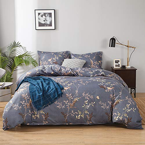 King Size Duvet Cover Set Blue Grey Golden Floral Non-Iron Microfiber Durable Fade Resistant Fabric-Include 1 Quilt Cover+2 Pillowcases-Soft Hypoallergenic, Easy Care Flower Patterned Comforter Cover