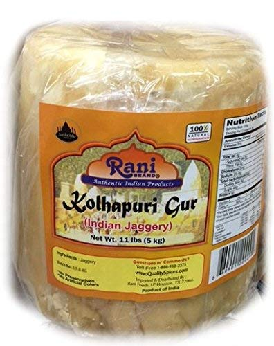 Rani Kolhapuri Gur (Jaggery) 5kg (11lbs) ~ Unrefined Cane Sugar, No Color added, Gluten Free Ingredients | Vegan | NON-GMO | No Salt or fillers