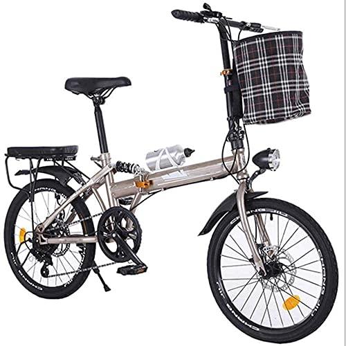 HUAQINEI Bicicleta Plegable de 20 Pulgadas, Bicicleta Plegable de Ciudad, Amortiguador de Freno de Disco portátil Ultraligero para Adultos, Bicicleta de montaña de 6 velocidades, Negro