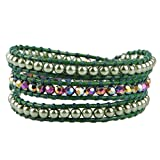 KELITCH Grün Künstliche Perle Kristall Perlen 3-Reihig Grün Leder WickelArmband Freundschaftsarmbänder