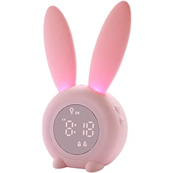 Kids Alarm Clock for Kids, Children's Alarm Clocks for Girls Boys Bedroom, Night Light for Kids, 5 Ringtones, Touch Control and Snoozing with 2000mAh Rechargeable Kid Alarm Clocks