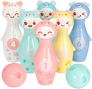 LIOOBO 8 PCs Mini Colorful Cartoon Bowling Play Sets Indoor Sports Bowling Games Toy for Kids Children