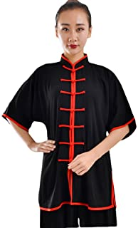 ZooBoo Unisex Cotton Blend Short Sleeves Tai Chi Suit Morning Exercise Uniform Kung Fu Clothing