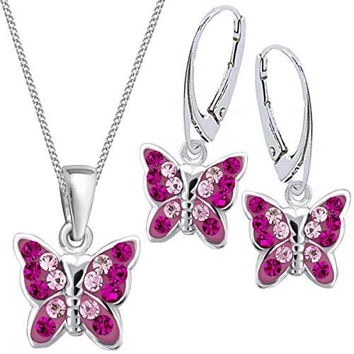 Mädchen Kinder Kristall Schmetterling Brisur Ohrringe + Anhänger + 40cm Kette 925 Silber Set (Magenta)