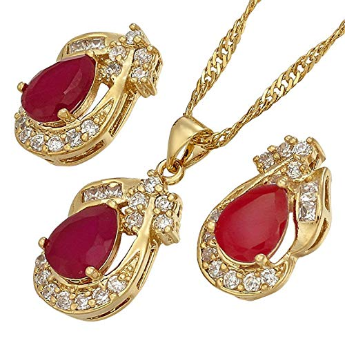 Juego de joyas en forma de lágrima con pendientes de cadena de 45 cm y oro amarillo