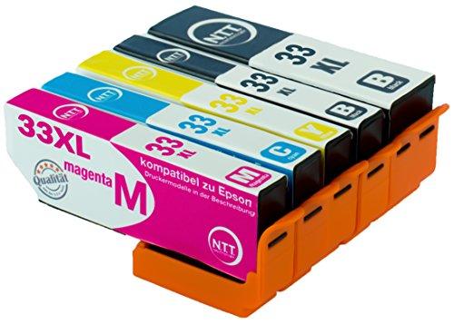 NTT 5X Druckerpatronen kompatibel zu Epson T3351 kompatibel mit Epson Expression Premium XP-645 XP-830 XP-900 XP-530 XP-540 XP-630 XP-635 XP-640 (5 Schwarz) 33XL T3351BK Schwarz Tintenpatronen