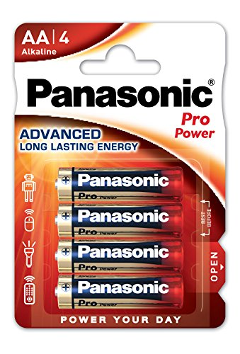 Panasonic Batteries Pro Power Alkali-Batterie (Mignon AA, LR6, 4er Pack), blau, rot, weiß, FBA_2254