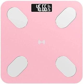 KLT Báscula de pesaje Inteligente Báscula de Baño Precisa Electrónica Digital Báscula de Peso Grasa/Musculo/Visceral Grasa Báscula de Pesaje Bluetooth Aplicación 180Kg Rosa Cocina