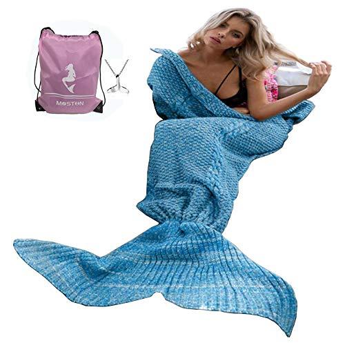 Modello per lavoro a maglia sirena coda coperta da Moens pelo caldo, morbido e Mermaid Tails aria condizionata coperta Slumber cute Mermaid Gift