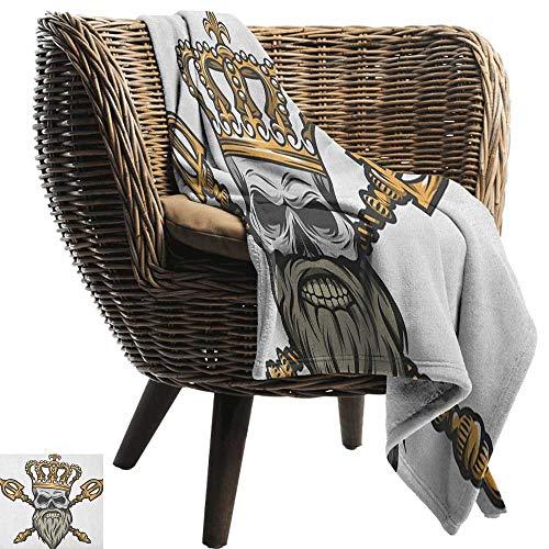 ZSUO Gedessineerde deken King,Forest Jungle Keizer Safari Dierlijke Leeuw met Middeleeuwse Design Frame Print Grijs Wit Koraal Zwart Gezellig Hypoallergeen Eenvoudig te dragen Deken
