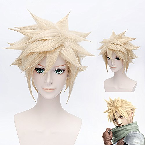 HOOLAZA Light Goldene Kurze Flauschige Schwanz Anti Warping Perücke 30 Cm Final Fantasy 7 Cloud Strife Cosplay Perücke(EINWEG)