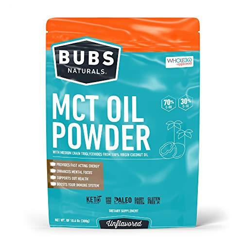 BUBS Naturals MCT Oil Powder | Medium Chain Triglyceride Oil Powder | Keto Friendly | Paleo Friendly | Healthy Fat | Low Carb | 30 Servings