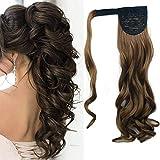 Postiche Queue de Cheval Extension a Clip Cheveux Naturel Ondulé bouclés Ponytail Wrap Around Monobande (Blond foncé)