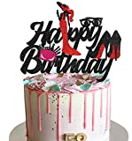 KAPOKKU Glitter High Heel Cake Topper Sexy Cake Decorations for Women Happy Birthday Party Supplies