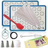 Macaron Silicone Mat   Macaroon Baking Mat - Kit 15 pcs Set TAILORED FOR STARTERS   Non stick Macron Silicon Mat   16.5