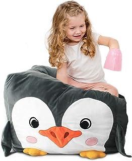 Adorable pouf de rangement en peluche pour enfants et adultes, housse de pouf pour organiser les jouets en peluche (pingouin)