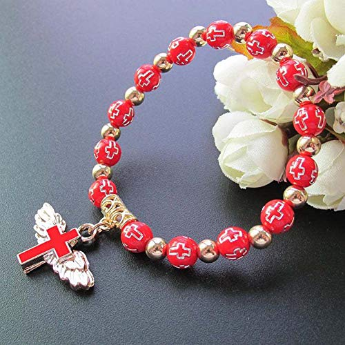 manda Stell One Decade Auto Rosary Beads Catholic Bracelet St Benedict Medal Crucifix Divine Mercy Centerpiece Holy Land Gift(RED)