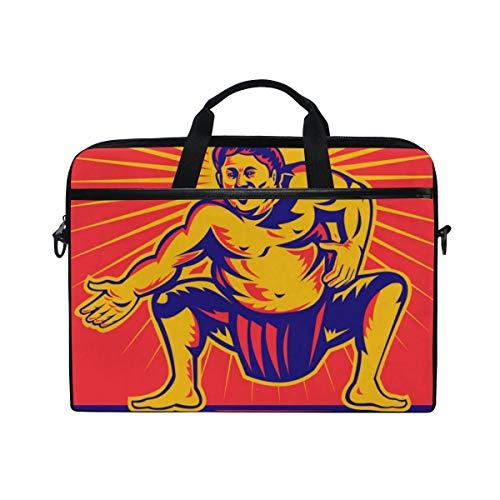 FOURFOOL 15-15.6 inch Laptop Bag,Vector Illustration Sumo Wrestler Crouching Facing,New Canvas Print Pattern Briefcase Laptop Shoulder Messenger Handbag Case Sleeve
