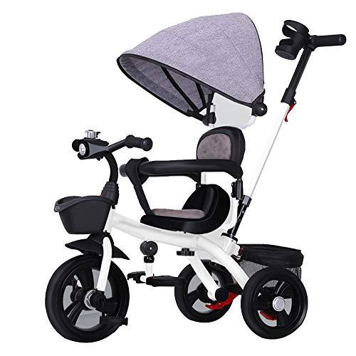 Axdwfd Kids Bike Kids Trike Lading 50 kg, Baby driewieler met Titanium Wiel, Lederen Zwenkstoel, Duw handvat, Kinderwagen Fiets voor 1-6 Jaar Peuter Jongens/Meisjes Fiets