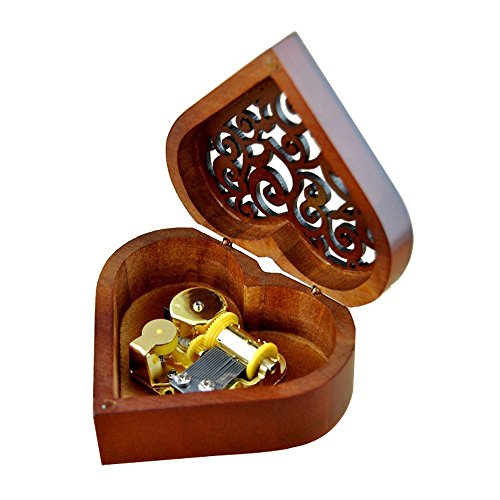 WESTONETEK Heart Shaped Vintage Wood Carved Mechanism Musical Box Wind Up Music Box Gift for...