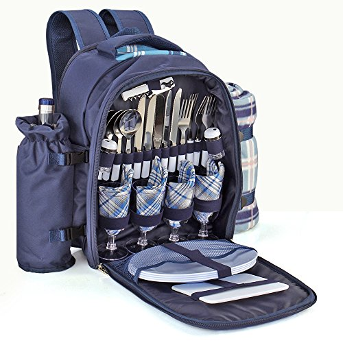 Flexzion Picnic Backpack Kit - Camping Bag Set for 4 Person with Cooler Compartment, Detachable Bottle/Wine Holder, Large Fleece Blanket, Plates and Flatware Cutlery for Family (Plaid Tartan - Blue)