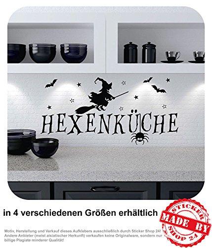 Wandtattoo Hexenküche Wandaufkleber Küche Hexen Sterne Fledermaus 30 Farben zur Auswahl (80,0 cm x 39,0 cm)