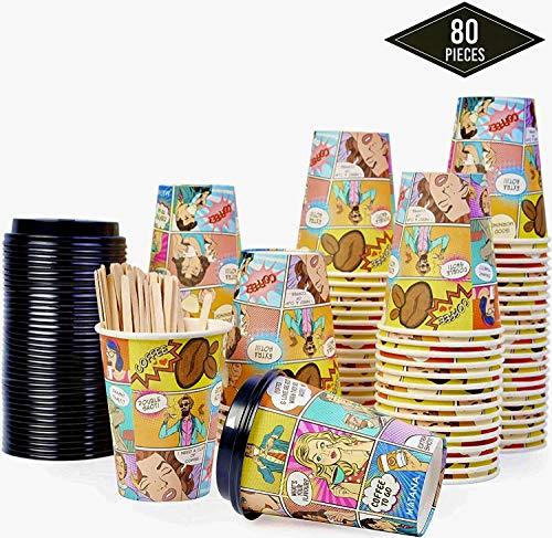 80 Premium Vasos de Café Desechables para Llevar, 360ml| Vasos Carton con Tapas y Agitadores de Madera| Robusto, Resistente y Ecológico Bebidas Frias y Calientes Coffee Té Capuchinos.