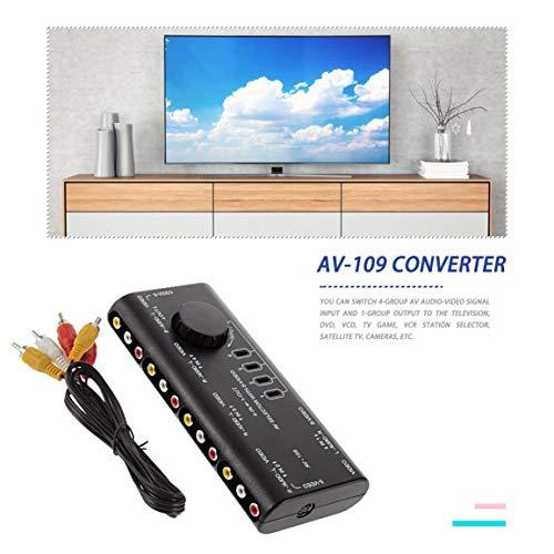 4 en 1 Sortie AV RCA boîtier de Commutation AV Audio vidéo Signal sélecteur séparateur 4 Voies avec câble RCA pour télévision DVD VCD TV