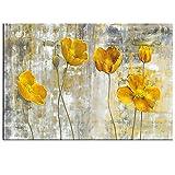WGD Haib Arte Abstracto Arte Amarillo Flores De Lona, Fotos De Arte De Pared para Sala De Estar Estilo Nórdico, Arte Moderno De Arte Floral Decorativos, 1pcs (Size : No Frame 40x50cm)