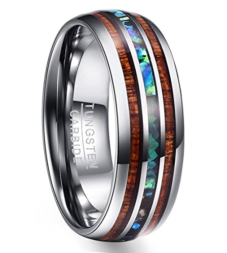 NUNCAD Koa Wood Abalone Shell Inlaid Tungsten Ring for Women Men Silver 8mm High Polished Domed Wedding Engagement Rings Size Z+3