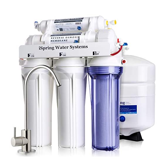 iSpring RCC7, NSF Certified, High Capacity Under Sink 5-Stage Reverse Osmosis Drinking Filtration System and Ultimate… 1 This system is certified to NSF/ANSI 58. High Capacity Reverse Osmosis water filtration for safer, healthier water. This under sink mounted water filter and water softener removes up to 99% of over 1, 000 contaminants, including lead (removes up to 98% of lead), chlorine, fluoride, arsenic, asbestos, calcium, sodium, and more. Experience clean, safe, good-tasting water every time you turn on the faucet. Enjoy crystal clear ice cubes, fresher tea and coffee, better tasting foods, healthier baby formula – even better than most bottled water. Easy, do-it-yourself installation, typically in a couple of hours with industry-leading help just a phone call away. Fits under a standard kitchen sink, with all parts included and clear, well-organized instructions and videos. For leak-free installation, simply push tubing ½ inch deep into quick-fitting connectors and lock - no threading pipes needed.