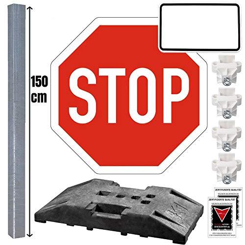 Komplett-Set VZ 206 Stop-Schild zum temporären Aufstellen 1,5 m