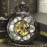XVCHQIN Con Cadena Reloj de Bolsillo Negro Blanco Marca Relojes de Esqueleto de Moda Antigua Reloj de Bolsillo mecánico de Viento Manual, Negro