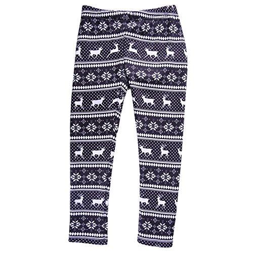 HDE Girls Fleece Winter Knit Leggings Kids Nordic Stretch Pants Footless Tights Black White Reindeer Snowflakes X-Small   4 5
