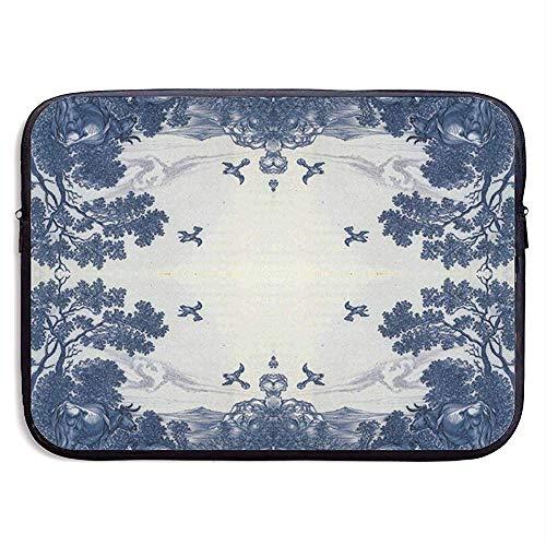 15inch Classic Delfts Blauw Keramische tegel Geïnspireerd Patroon (3871) Waterafstotend Laptop Sleeve Case Bag Cover