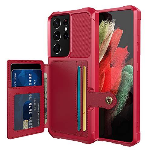 FHZXHY Funda para Galaxy S21 Ultra Wallet con ranura para tarjeta con función de montaje magnético para coche Samsung Galaxy S21 Ultra 5g 6.8 '-Rojo