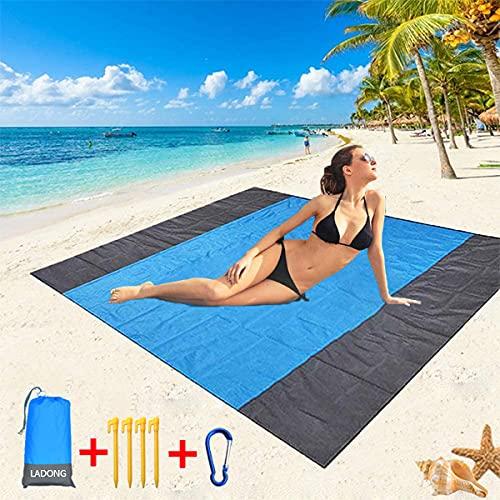 LAD - Manta de picnic para playa, extra grande, 210 x 200 cm, impermeable, portátil, para picnic, playa, a prueba de arena con 4 clavos fijos, alfombrilla para exteriores, viajes, camping, senderismo
