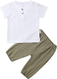 Toddler Kid Baby Boys White Short Sleeve T-Shirt Top Cotton Linen Shorts 2Pcs Summer Outfit