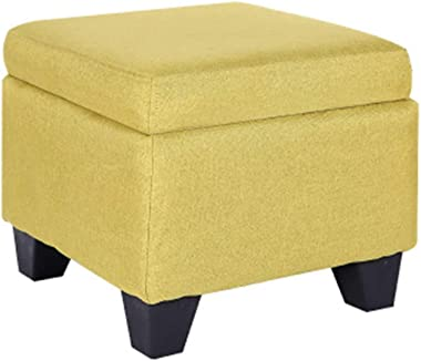 Footstool Shoe Changing Stool Storage Ottoman Box Bench Footrest Seat Multipurpose Pouffe for Bedroom Living Room Or Hallway